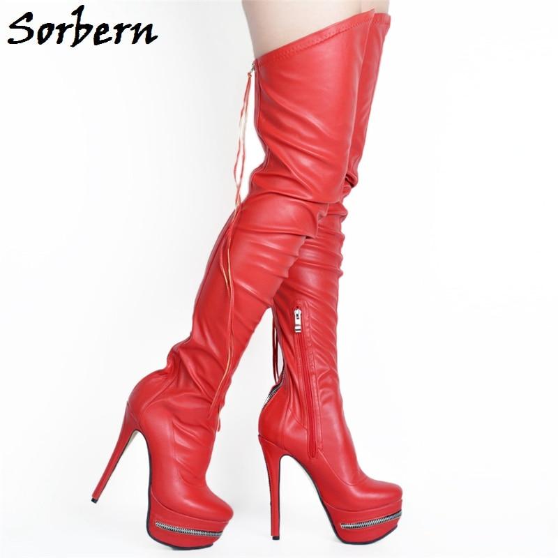 Sorbern Del De Mujer Muslo Moda 6 Las Tamaño Cremallera Negro Medicina Color rojo Zapatos blanco Plataforma Mujeres vino Tacón Negro Tinto Alta Botas Alto rfw5rqaIx