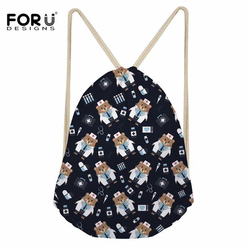FORUDESIGNS Cute Nurse Bear Design Casual Drawstring Bags Girl Daily Use String Backpacks Ladies Students Cinch Sack Storage Bag