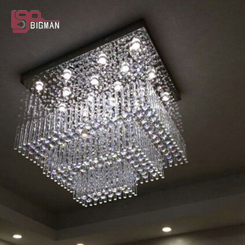 Us 959 42 11 Off New Square Design Modern Crystal Lighting Large Chandelier Living Room Light Fixtures In Chandeliers From Lights On