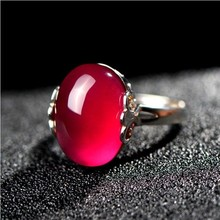 South fort rings 925 silver adjustable oval shape of natural stone Chinese woman imperial Natural ring
