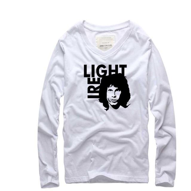 2016 nova O Jim Morrison Portas Light my Fire Impresso T Camisa Banda de Rock T-shirt Dos Homens longo Sleev v Neck Algodão Camiseta Tops Tee