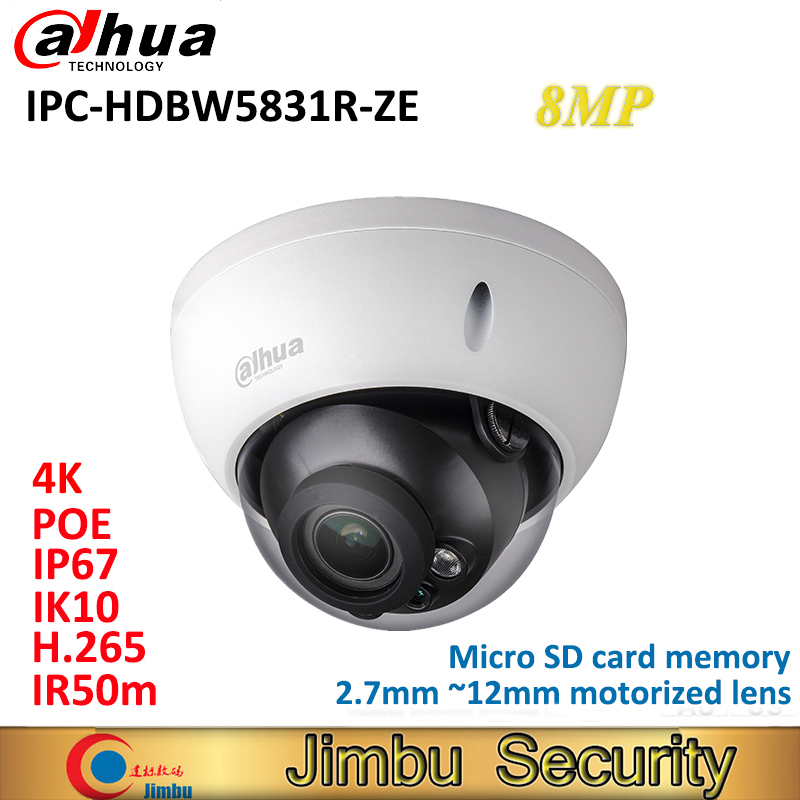 Dahua 8MP WDR IR Dome IP Camera IPC HDBW5831R ZE IP67 IK10 PoE H.265&H.264 2.7mm ~12mm motorized lens IR50m Micro SD card memory