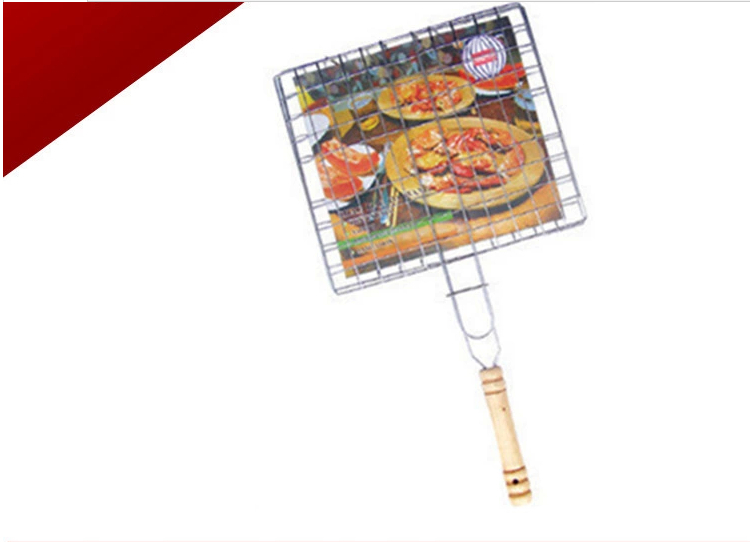 1 X Outdoor BBQ Barbecue Copper Hand Grill Net Hardwood Handle Barbecue Clip Clamp Folder Free shipping