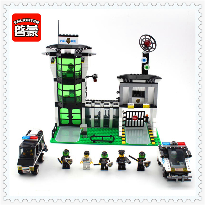 ENLIGHTEN 129 Police Series Headquater City Riot Building Block 589Pcs DIY Educational  Toys For Children Compatible Legoe jie star police pickup truck 3 kinds deformations city police building block toys for children boys diy police block toy 20026