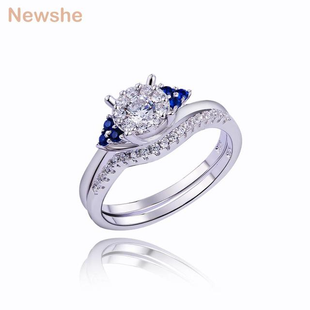 ea5e029e5 Newshe Wedding Ring Sets For Women Pure 925 Sterling Silver Engagement Ring  Special Blue Side Stone Fashionable Jewelry