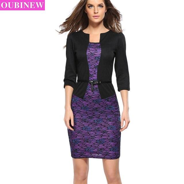 Oubinew Faux Jacket Brief Elegant Patterns Women Work Dresses Office