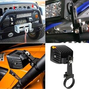 Image 5 - 1 זוג אוטומטי צינור שור בר LED סוגר 1 3 אינץ Offroad SUV רכב פגוש Bullbar עגול רול כלוב HID עבודת אור בעל מהדק