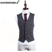 SHOWERSMILE Grey Dress Vests For Men Sleeveless Jacket Slim Fit Waistcoat British Style Vintage Spring Autumn Clothing