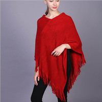 New Arrival Fashion Women Solid Ponchos Autumn Winter Shawl Free Shipping