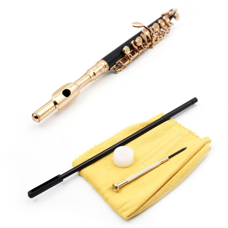 C Key Tone Half-size Flute Piccolo Musical Instrument with Screwdriver Cleaning Stick Padded CaseC Key Tone Half-size Flute Piccolo Musical Instrument with Screwdriver Cleaning Stick Padded Case