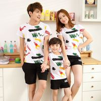 2017 Summer Family Matching Outfits Mother And Daughter Leisure Sports Clothes Dad Son Graffiti Short Sleeve