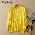 QingTeng 100 Cashmere Cardigan Sweater Mujeres Soft Loose Color Sólido 2017 Nueva Primavera Otoño de Manga Larga de Cachemira Abrigo de Las Mujeres