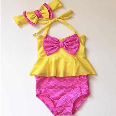 Девочка купальники милый комплект одежды для маленьких девочек Танкини бикини шорты повязка на голову бантом купальник купальный костюм П...