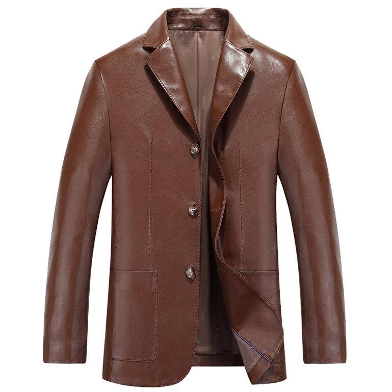 2016 Haining men's Leather Men's leisure suit jacket lapel middle-aged men's Leather Biker jackets wholesale