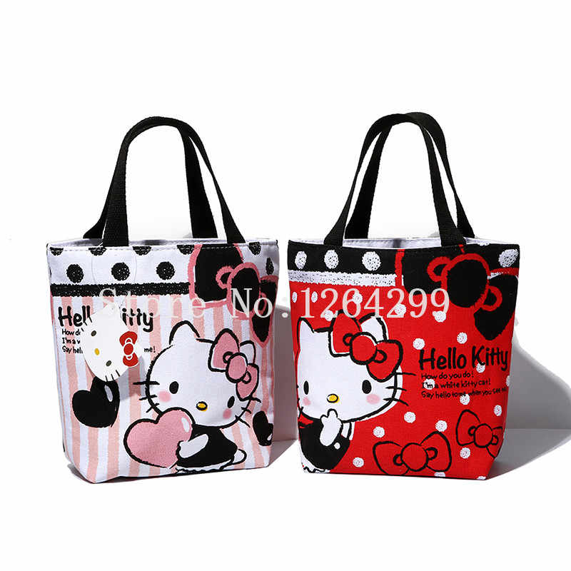 ce320f462b New Fashion Hello Kitty Girls Woman Small Canvas Zipper Handbags Kids Lunch  Bags For Children Gifts