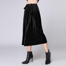 Large size ladies fat MM Autumn new fashion Pleated lace-up casual skirt plus Elegant high range velvet black shirt