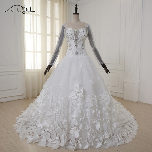 ADLN Gorgeous Wedding Dress Sweetheart Beaded Crystals Bridal Gowns with  handmade Flower Petals 1.5 meter Train Sleeves Custom 721297e8291d