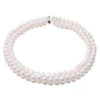 JYX натуральное круглое жемчужное ожерелье Двухрядное мм 8 9 мм Белое пресноводное культивированное жемчужное ожерелье круглые жемчужные це
