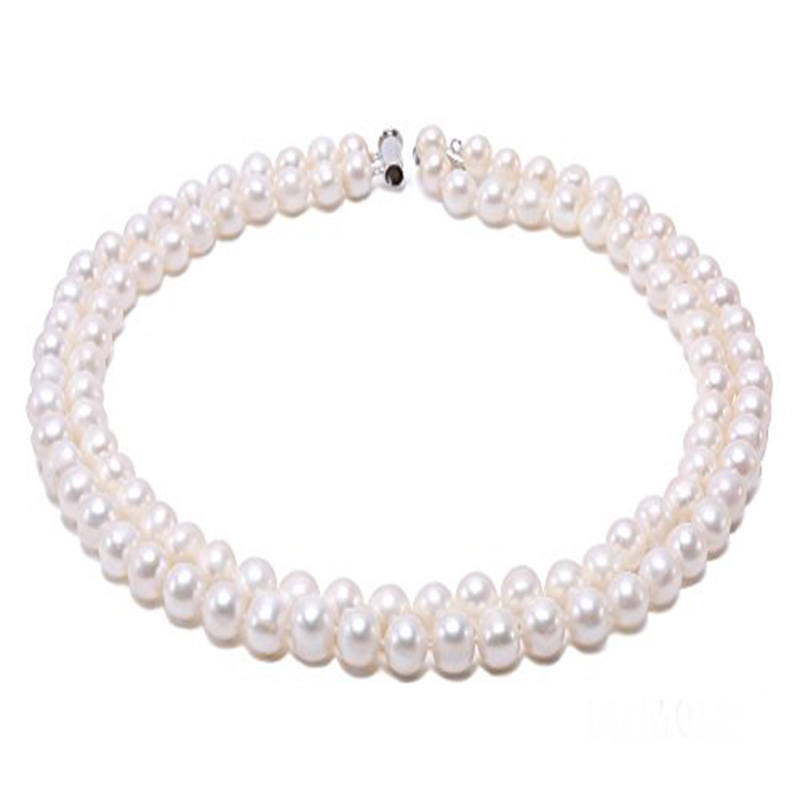 JYX Natural Round Pearl Necklace Double-row 8-9mm White Freshwater Cultured Pearl Necklaces Round Pearl chains for women купить в Москве 2019