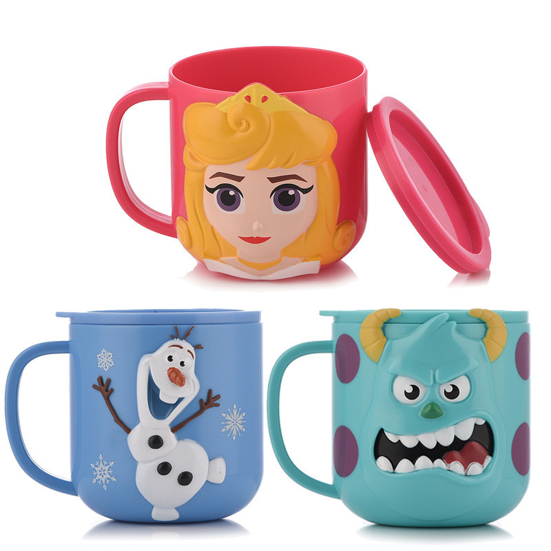 Disney children with cover home drinking cup mouth brushing cup cute baby cartoon milk cup drop