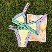 100% algodón Sexy crochet colorido elástico NEOPRENO bikini BIKINI de traje de Baño-traje de Baño ropa de playa
