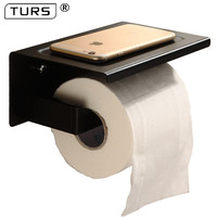 SUS 304 Stainless Steel Black Toilet Paper Holder Bathroom Toilet Roll Holder For Roll Paper Towel Square Bathroom Accessories