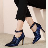 Spring and autumn sheepskin high heels zipper royal blue wine red women's shoes Fashion sexy pointed Heels women pumps