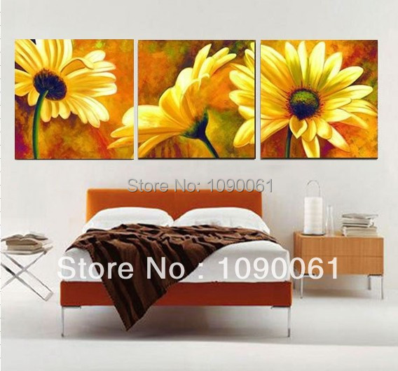Hand Painted Canvas Painting Flowers 3 Panel Modern Wall Pictures For Living  Room Home Decoration Oil Painting On Canvas Unframe Em Pintura U0026 Caligrafia  De ... Part 65