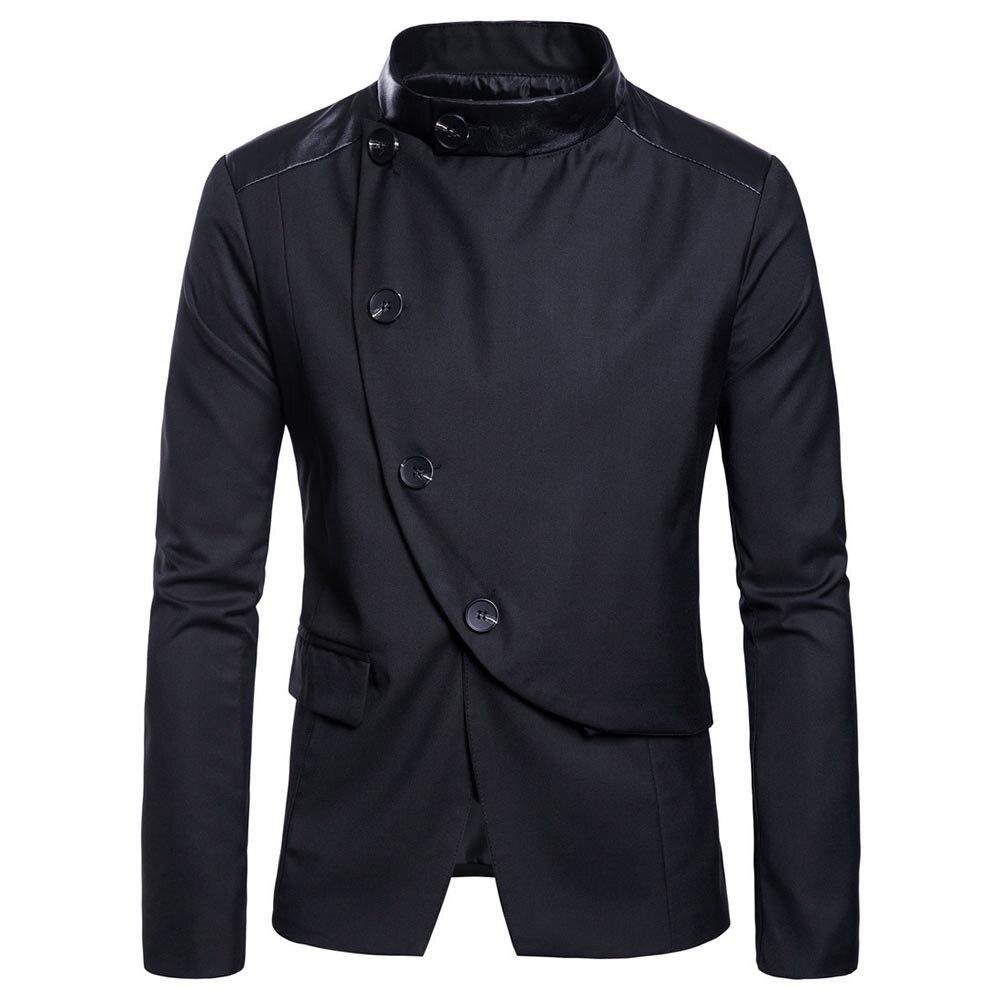 2018 Mode Blazer Hommes Occasionnels Costumes Unique Poitrine Irrégulière Bouton Hommes Blazer Mâle Patchwork Formelle Costume Blazers Outwear