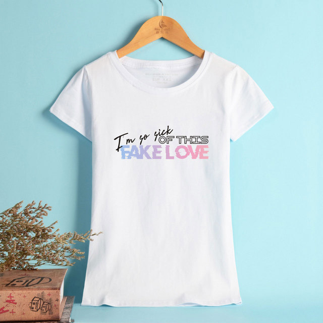11ff957201fe BTS Summer Men Cool New 2018 T-shirts Popular Fake Love Fans Women Sexy  Cool Short Sleeve Funny Anime Print T Shirt Plus Size