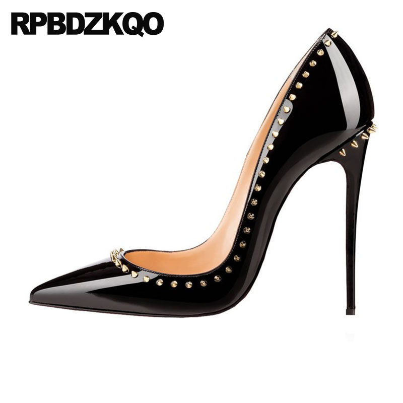 3356289fe9c Ladies Spike Black 12 44 13 45 12cm 5 Inch Big Women Shoes Size  Crossdresser Plus Stiletto Pointed Toe Italian Pumps High Heels