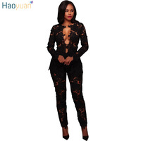 HAOYUAN 2 Pieces Sets Women Sexy Deep V Neck Lace Top And Long Pants See Through