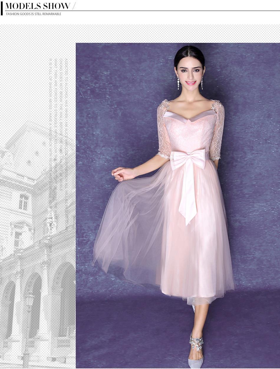 Nuevo 2016 populares rosa claro de la gasa de cóctel vestidos v ...