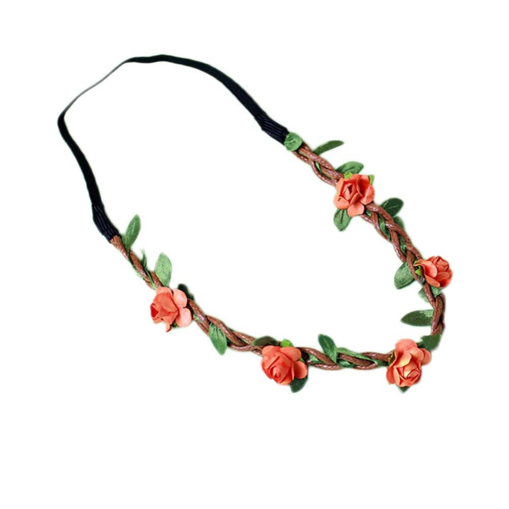 Women Headband Cloth Girl Hairband Wedding Bridesmaid Floral Flower Festival Forehead Hair Garland Bows