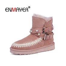 ENMAYER Women Ankle Boots Fashion Round toe Snow Lady Solid Low heels Shoes Big Size 34-43 Causal CR1737