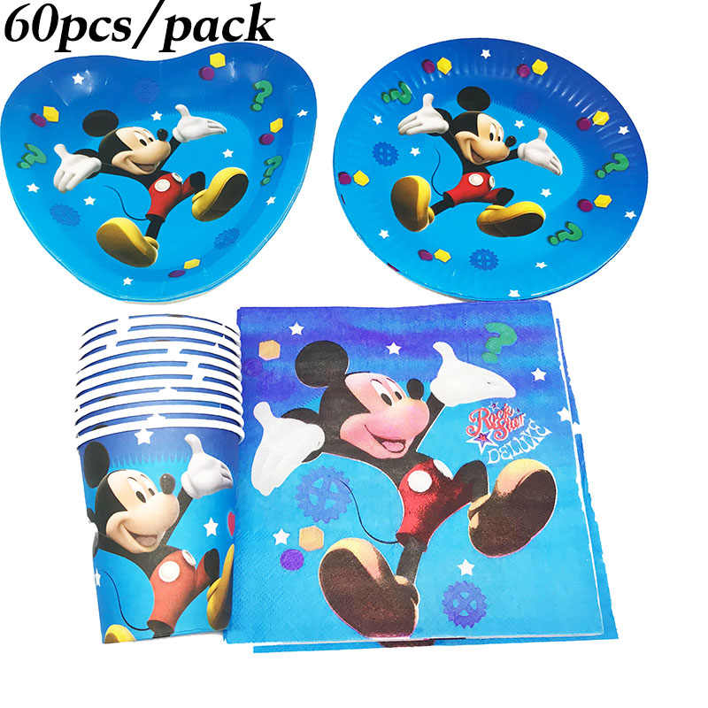 60pcs Mickey Mouse Disposable Party Tableware Sets Mickey Mouse Plates Cups Napkins Mickey Mouse Birthday Party Decorations Disposable Party Tableware Aliexpress