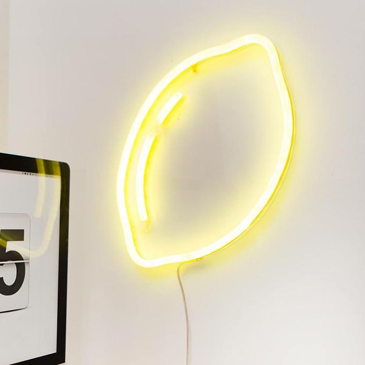 Mycyk Ins Lemon Leaves Ice Cream Banana Rainbow Diamond Modeling Lights Indoor Decoration Bedroom Decoration Lamp The Neon Light