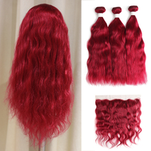 99J/Burgundy Human Hair Bundles With Frontal 13×4  Brazilian Natural Wave Human Hair Bundles With Closure Non-Remy Hair