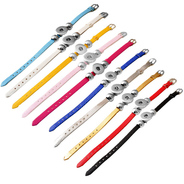 P00536 1Pcs/lot Wholesale Snap Button Bracelet&Bangles High quality leather Bracelets For Women 18mm Rivca Snap Button Jewelry