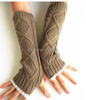 Lace Knitted Fingerless Gloves Arm Warmers Ballet Dance Button Glove Wrist Warmers Mitten Fashion 3 Colors