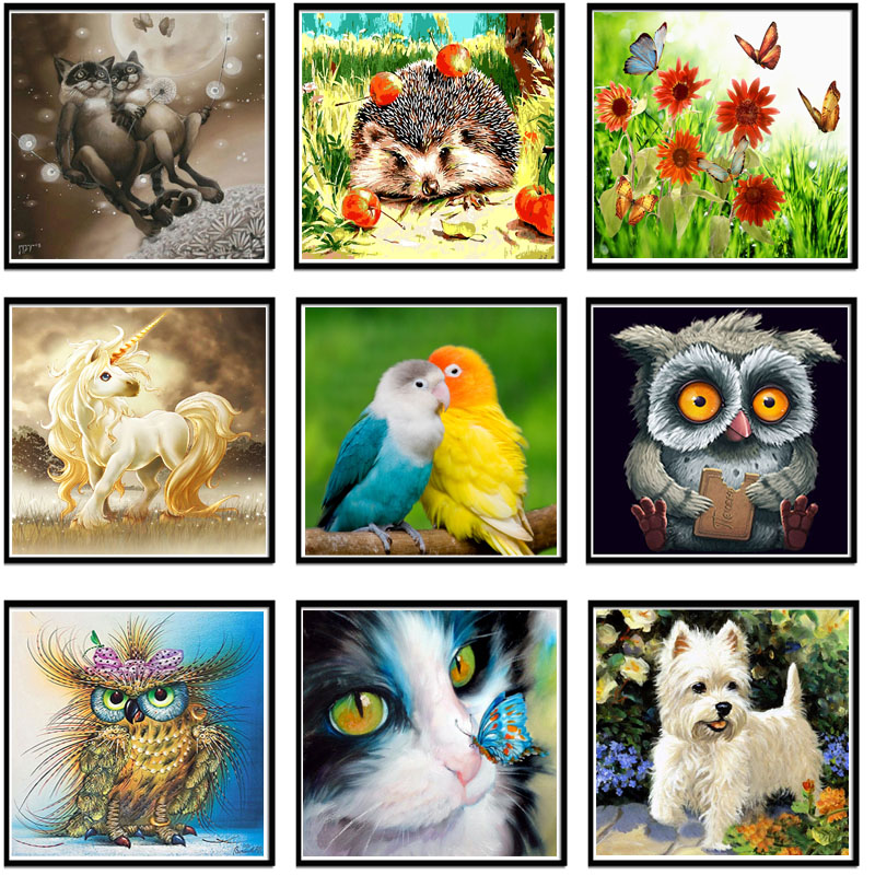 US $5 14 5% OFF|Megayouput Diamond Embroidery diy diamond Painting Cross  Stitch kit Animal cartoon picture 3d Diamond Mosaic Home Decor 30X30-in