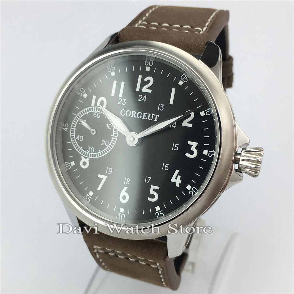 45mm Corgeut Seagull hand winding 6497 movement Brown Leather Strap Stainless Steel Case Mens Watch