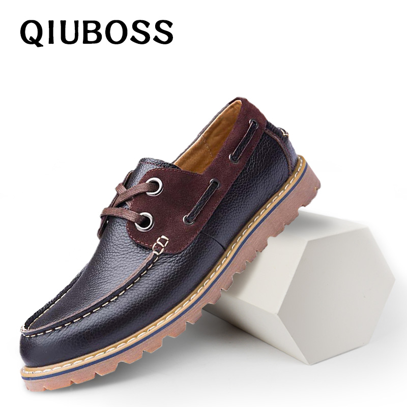 2018 New Boat Shoes Flats Shoes Men Comfortable Men Casual Shoes Cow Genuine Leather Boat Shoes Loafers Breathable High Quality