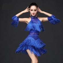 Новинка, платье для латинских танцев для женщин/девочек/леди, Новая Сексуальная бахрома для сальсы/бальных/Танго/ча-ча/румбы/самбы/латинских платьев для танцев