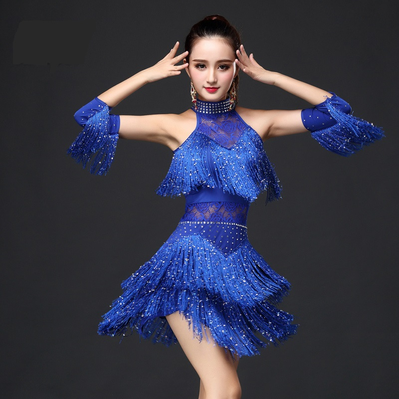 Nuevo vestido de baile latino 2017 para mujer/niñas/señora nuevo Sexy flecos Salsa/salón de baile/Tango/Cha/Rumba/Samba/vestidos latinos para bailar