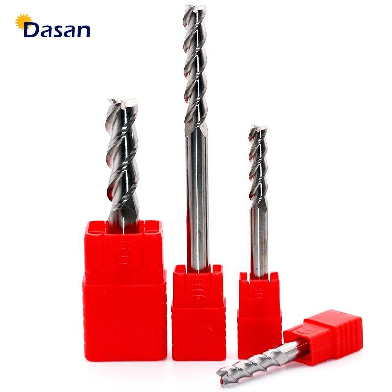 1 pc moinho de alumínio 3mm 4mm 5mm 6mm 8mm 10mm extremidade extra longa hrc60 3 flauta fresas de carboneto de tungstênio ferramenta para