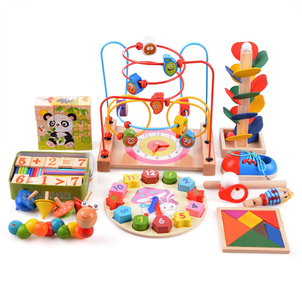 14pcs/set Wooden Toys Three-Dimensional Jigsaw Round Circles Bead Wire Maze Roller Coaster Toy Set Child Early Educational Toys