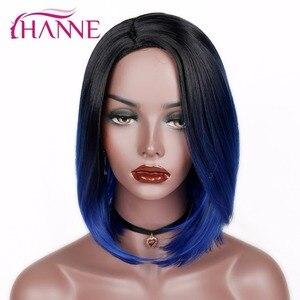 HANNE короткие синтетические парики Омбре черный до синий/серый/зеленый/фиолетовый боб парики Высокая температура волокна натуральные женск...