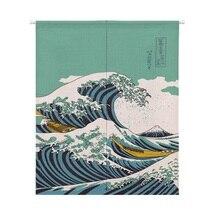 XIAOKENAI Cotton Linen 85x120cm Retro Scenic Natural Doorway Curtain For Home Decor Tube Kitchen Curtains Waves Sunrise