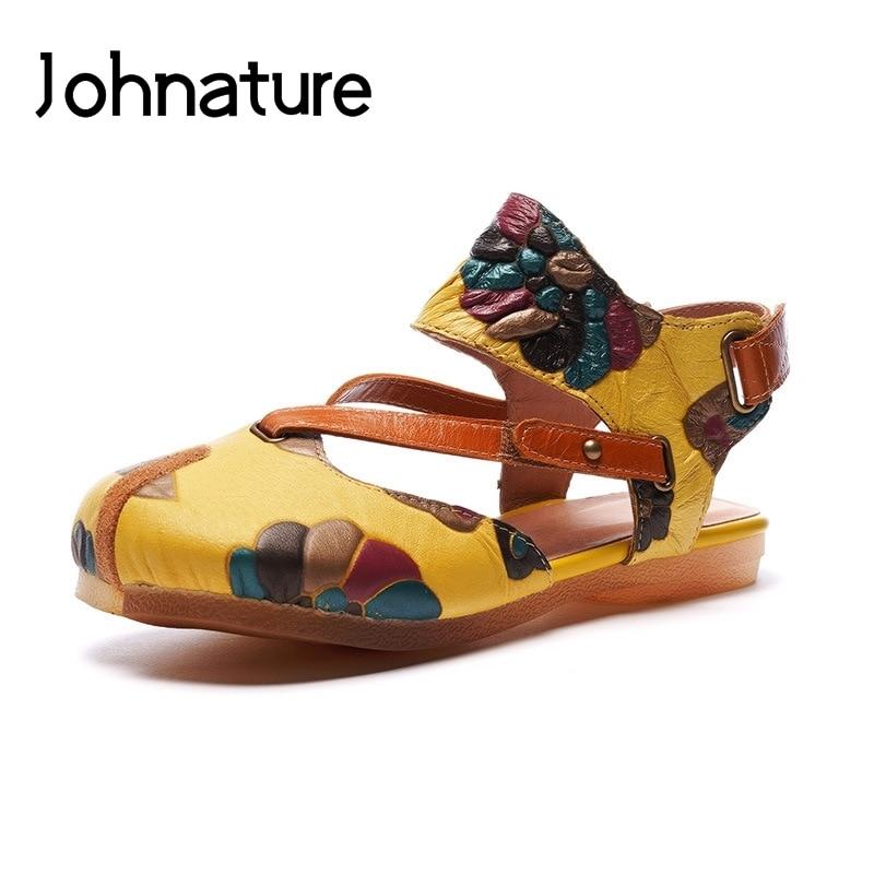 Ayakk.'ten Düşük Topuklular'de Johnature Hakiki Deri Ayak Bileği wrap Casual Yaz Sandalet Baskı Kanca & Döngü Toka Retro Geri Askısı, Düz Ile Kadın ayakkabı'da  Grup 1